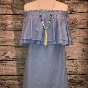 Mud Pie Chambray Off Shoulder Dress